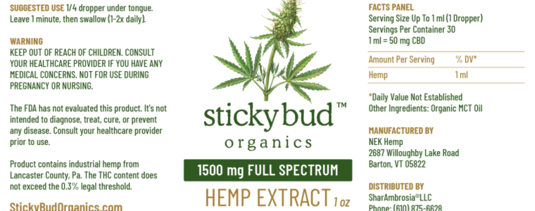 Sticky Bud Organics Hemp Extract